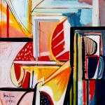 Foulard, Ettore Fico - Composizione astratta, twill 100% seta, 30x30 cm (€ 15), 90x90 cm (€ 55), 140x140 cm (€ 95) chiffon 100% seta, 140x140 cm (€ 95). Prezzi + spedizione