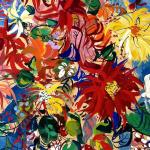 Foulard, Ettore Fico - Vaso di Fiori, twill 100% seta, 30x30 cm (€ 15), 90x90 cm (€ 55), 140x140 cm (€ 95) chiffon 100% seta, 140x140 cm (€ 95). Prezzi + spedizione
