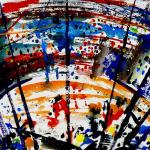 Foulard, Ettore Fico - Circo, twill 100% seta, 30x30 cm (€ 15), 90x90 cm (€ 55), 140x140 cm (€ 95) Chiffon 100% seta, 140x140 cm (€ 95). Prezzi + spedizione