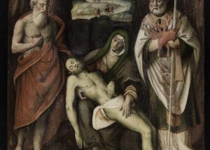 Giovanni Ambrogio Della Torre, Pietà con i Santi Ambrogio e Girolamo, XVI secolo prima metà, olio su tavola, 205 x 148 cm. Immagine della tavola a fine pulitura.